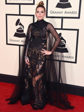 Skylar Grey arrives at the 58th annual Grammy Awards