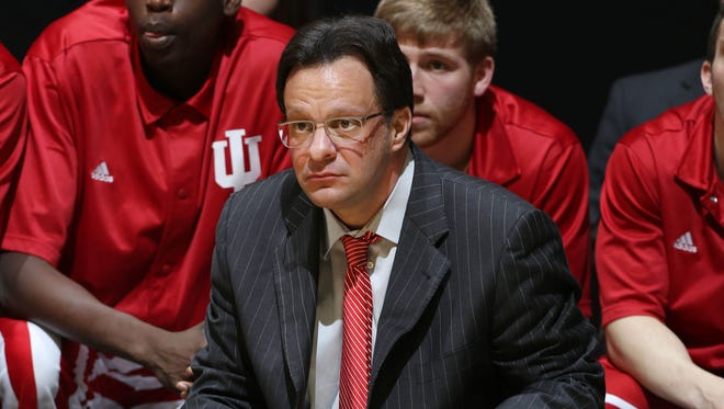 Indiana Hoosiers coach Tom Crean coaching on the sidelines against the Purdue Boilermakers at Mackey Arena.  Purdue defeats Indiana 82-64.
