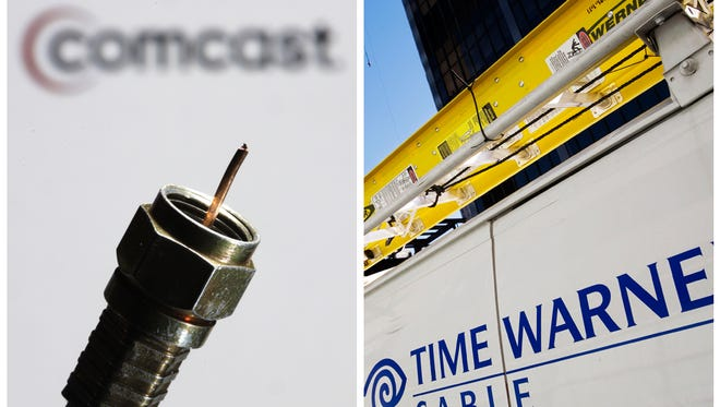In this combination of Associated Press photos, the a coaxial cable is displayed in front of the Comcast Corp. logo in Philadelphia in July 2008, and a Time Warner Cable truck is parked in New York in February 2009.