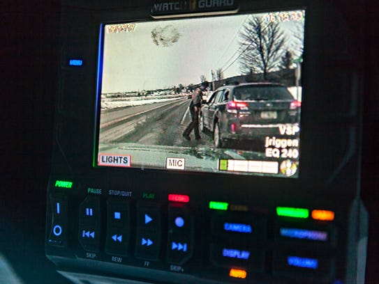 Video equipment in a Vermont State Police cruiser shows
