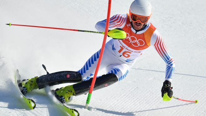 Bryce Bennett competes in men's alpine combined slalom during the Pyeongchang 2018 Winter Olympic Games at Jeongseon Alpine Centre.