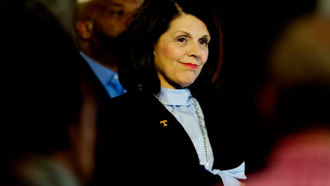 University of Tennessee Chancellor Beverly Davenport attends a press conference announcing new information concerning the Tennessee Lady Vols name, logo and brand at the Ray & Lucy Hand Digital Studio on the UT campus in Knoxville, Tennessee on Thursday, September 14, 2017.