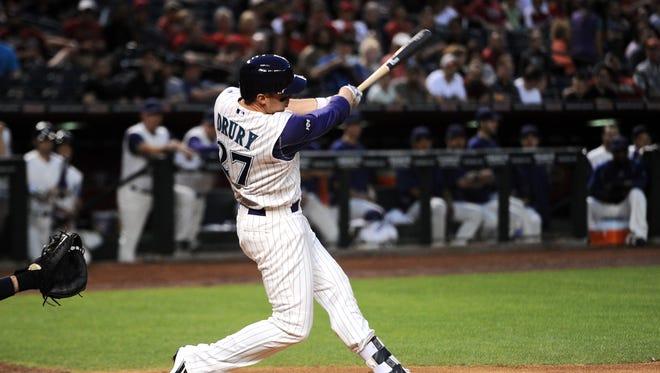 Apr 28, 2016; Phoenix, AZ, USA; Arizona Diamondbacks left fielder Brandon Drury (27) hits a double against the St. Louis Cardinals during the second inning at Chase Field.