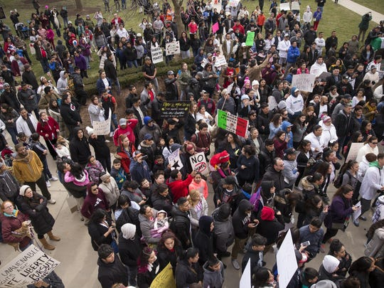 """""""Day Without Immigrants"""" participants gather."""