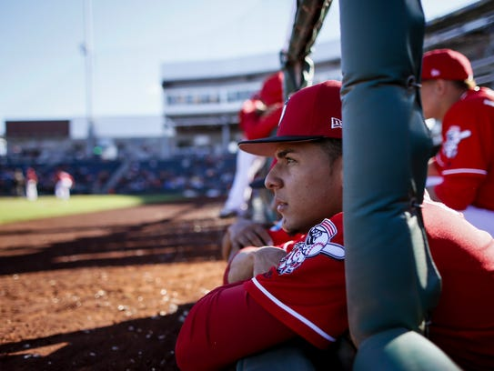 Cincinnati Reds relief pitcher Luis Castillo (58) watches