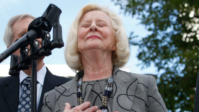 Yvonne Bertolet reacts during a news conference regarding a verdict for the death of her daughter, Miss. native Toni Henthorn, outside federal court Monday, Sept. 21, 2015, in Denver. A federal jury convicted Toni Henthorn's husband, Harold Henthorn, of murder for pushing his wife to her death off a cliff in a remote part of Rocky Mountain National Park as they hiked to celebrate their wedding anniversary in 2012.