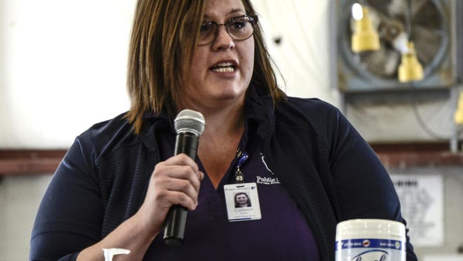 Colleen Drees, Finney County Health Department director, talks about COVID-19 in April at the Finney County Fairgrounds.