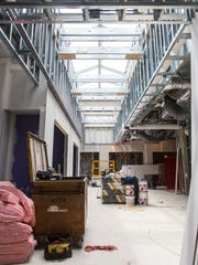 A large skylight brings natural lighting to Inspira's