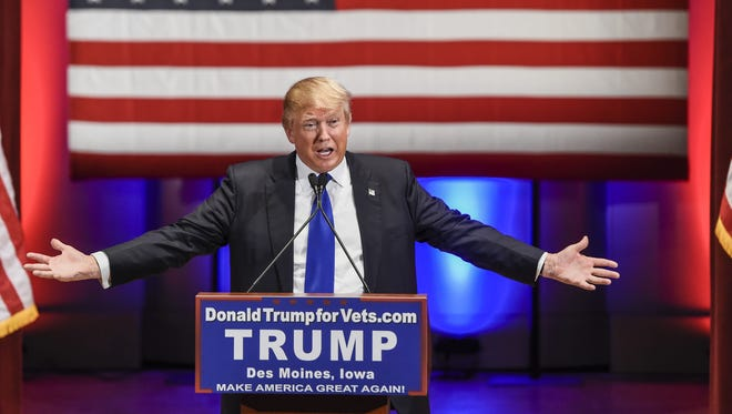 Donald Trump speaks at a special event to benefit veterans organizations at Drake University in Des Moines while a Fox News GOP debate is held on Jan. 28, 2016.