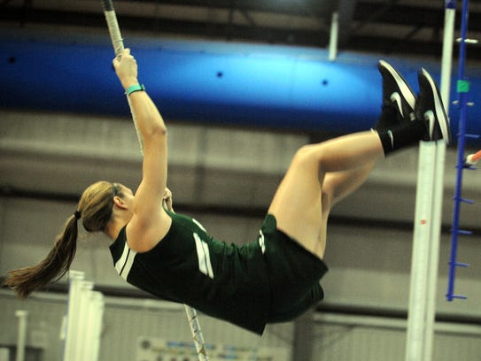 Parkside's Kara Osborne flips over the pole vault bar at the Bayside Conference championships for indoor track on Wednesday, Jan. 18, 2017 in Snow Hill.