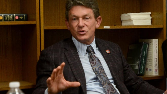 In this June file photo, Economic and Community Development Commissioner Randy Boyd tells The Jackson Sun editorial board that the state has invested $108 million in the 4,100-acre Megasite.