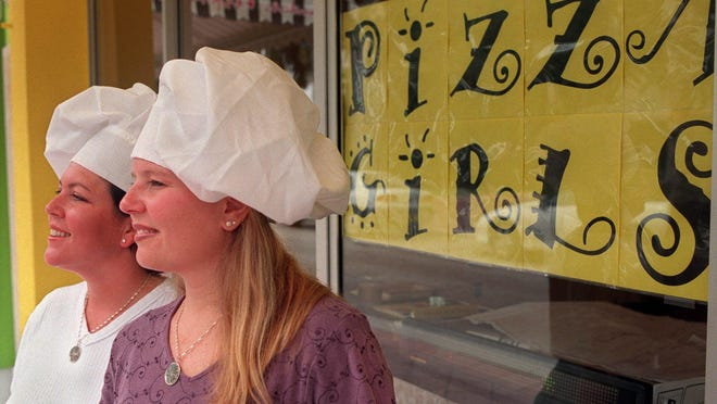 Pizza Girls flashback: Owners Phoebe Reckseit (left) and Jennifer Morales pose for a picture outside their then-brand-new Pizza Girls restaurant in downtown West Palm Beach on  Oct. 4, 1999.