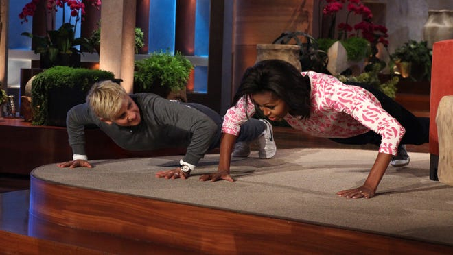 Ellen Generes and first lady Michelle Obama famously took on the other in a pushup contest in 2012.