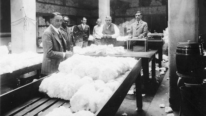 During the height of cotton growing, Tempe had three cotton gins. This WWI-era photo shows the interior of one of them.