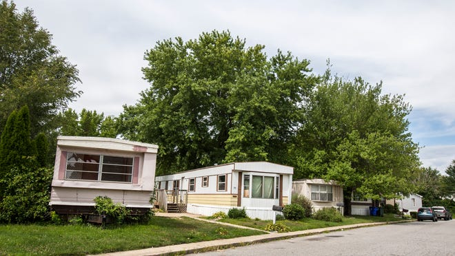 Mobile homes sit in the Glasgow Court trailer park in Newark on Monday afternoon, August 11, 2014.