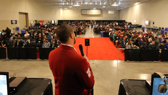 Jet Set Studio CEO Ben McDougal speaks to the crowd at UGC Niagara, an eSports event in Ontario, Canada, held between April 24 and 26, 2015.