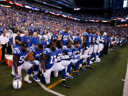 Colts players took a knee during the national anthem