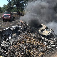 Truck spills pineapples and burns up on Interstate 5 near Red Bluff