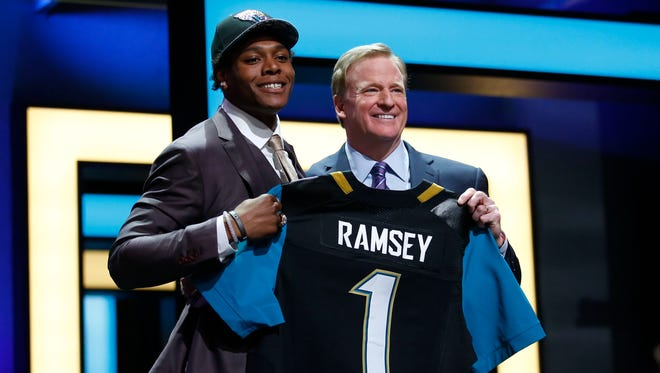 Jalen Ramsey (Florida State) with NFL commissioner Roger Goodell after being selected by the Jacksonville Jaguars as the number five overall pick in the first round of the 2016 NFL Draft at Auditorium Theatre.