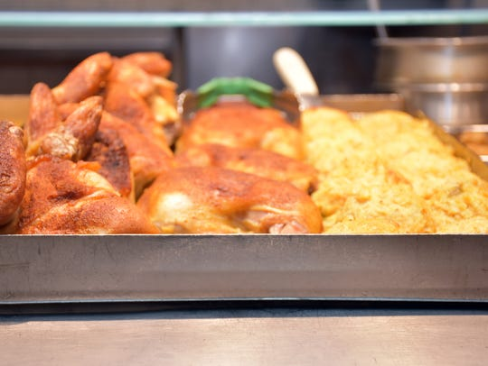 Roasted chicken is one of many meat items available
