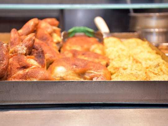 Roasted chicken is one of many meat items available at S&S Cafeteria.