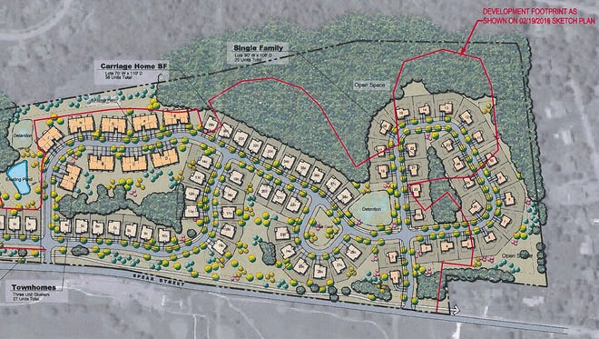 Proposed housing sites are shown in this September plan for development of the western part of Kwiniaska Golf Club in Shelburne. Red lines indicate an earlier footprint for the project. Spear Street appears at the bottom of the plan.