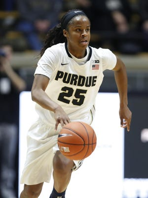April Wilson brings the ball up court against Maine Monday, December 21, 2015, at Mackey Arena. Purdue defeated Maine 56-33.
