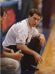 Michigan State's Tom Izzo is shown on the bench during the Spartans game against Chaminade in the Maui Invitational in Lahaina, Hawaii Monday Nov. 20, 1995.