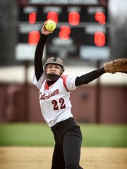 Annville-Cleona's Kaila Grubb launches a pitch during her complete game effort on Monday.