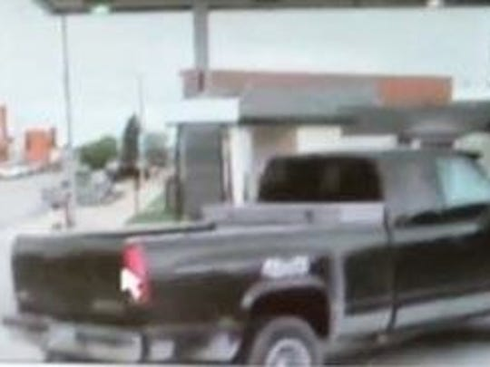Police think this truck is connected to a Calmar bank robbery on May 12, 2015.