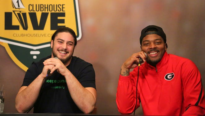 Green Bay Packers left tackle David Bakhtiari (left) co-hosted Clubhouse Live on Monday in Appleton. Bakhtiari's guest was linebacker Jayrone Elliott. Watch the replay at clubhouselive.com.