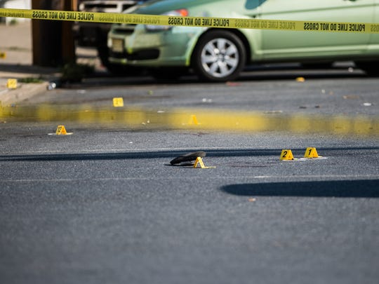 Police investigate a shooting that occurred at the intersection of 9th and Mifflin streets around 4:30 p.m. on Wednesday, August 16, 2017. The shooting sent one woman to the hospital.