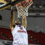 UL's Shawn Long (21), shown here dunking against McNeese State earlier this season, is t tied for fifth on the Cajuns' career scoring leaders list. Wednesday, Dec. 9, 2015.