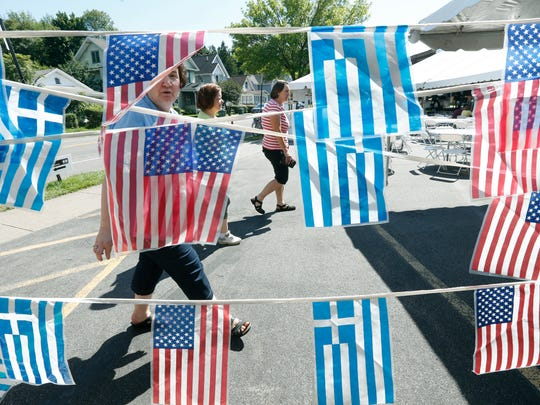 Greek and American flags greeted visitors to the Greek