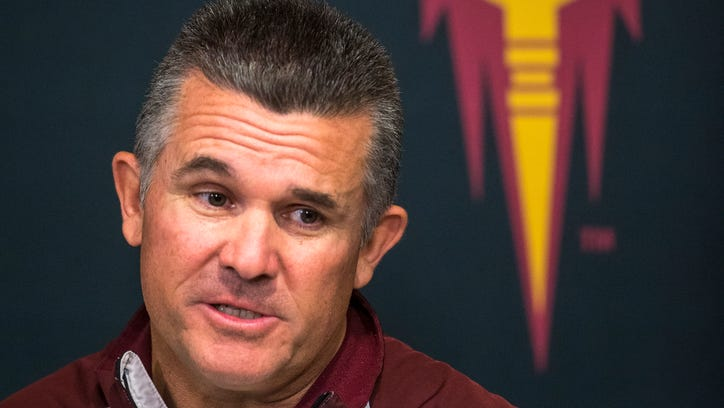 Arizona State coach Todd Graham talks to the media prior to the first game on Aug. 25, 2014.