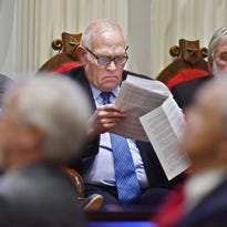 Sen. Richard Sears, D-Bennington and chairman of the Judiciary Committee, offered an amendment again calling for the statewide vote but on Election Day in November. He is pictured in a January 2015 photo following along as Gov. Peter Shumlin delivers his budget address.