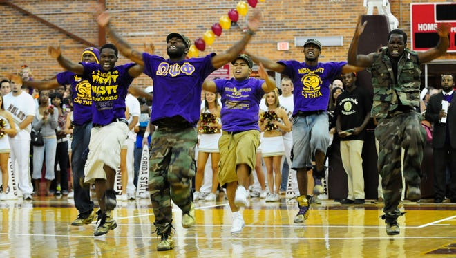 "According to Omega Psi Phi's national website, ""Members of Omega share a common foundation comradeship that last a lifetime,"" as seen here when the FSU chapter performed at the first basketball practice of the 2010 season."