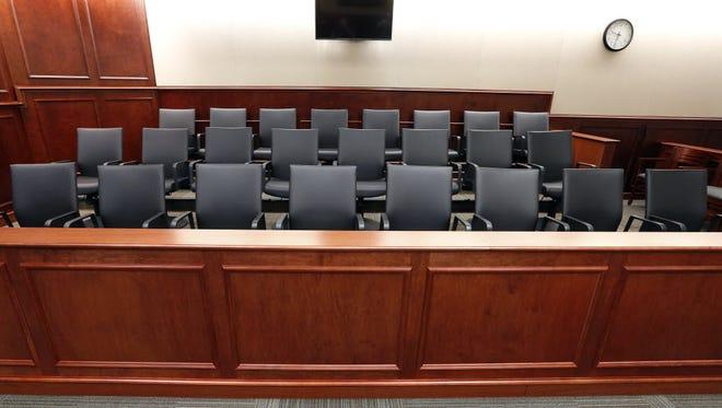 Jury box in Centennial, Colo.