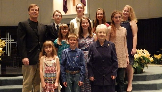 Piano students of Ginger Crippen performed their final recital with Mrs. Crippen earlier this month. Shown are Kara Flagg, front row, Kason Adkins, Ginger Crippen, with middle row Mike Camp, Kaylee Flagg, Hayley Woods, Becky Howard and back row, John Paul Kelly, Maria Kelly, Hannah Woods, and Victoria Wham. Performing but not included in the photo was Bentleigh Croom.