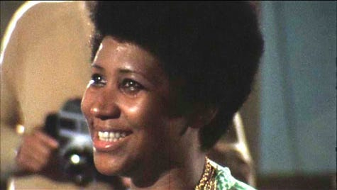 "Aretha Franklin in a screenshot from ""Amazing Grace,"" filmed in 1972."