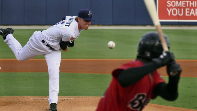 Daniel Wright, shown in a file photo, was outstanding Saturday night for the Blue Wahoos, tossing a 1-hitter in seven innings, but it became a no-decision outing after the Blue Wahoos sustained a 2-1 loss.