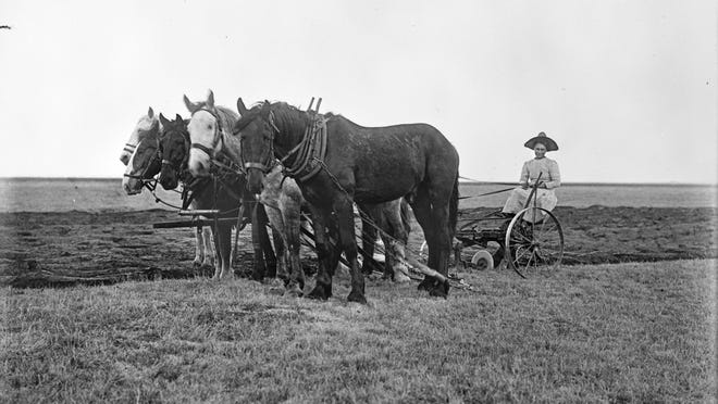 BELOW: Rosie Roesler sits on a sulky plow. She received her homestead patent for 320 acres in Prairie County in 1915. About 18 percent of homesteaders in Montana were women.