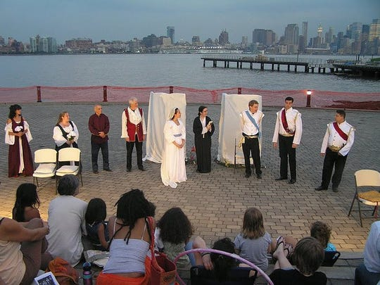 An outdoor performance by the Hudson Shakespeare Co.