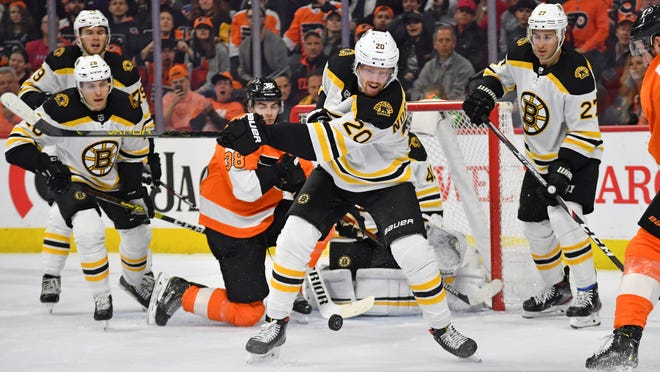 Boston Bruins center Joakim Nordstrom (20) tries to clear the puck against the Philadelphia Flyers during the second period at Wells Fargo Center on March 10, 2020.