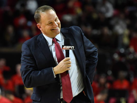 ESPN commentator Dan Dakich stands on the court during the first half of the game between the Maryland Terrapins and the Indiana Hoosiers at Xfinity Center.