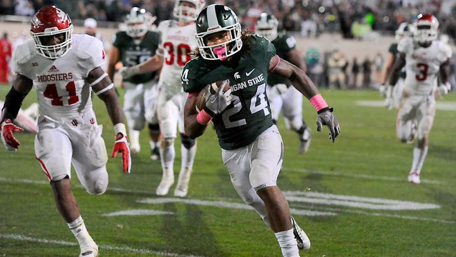 MSU running back Gerald Holmes gets to the end zone on a 22-yard touchdown run in the fourth quarter against Indiana on Saturday.