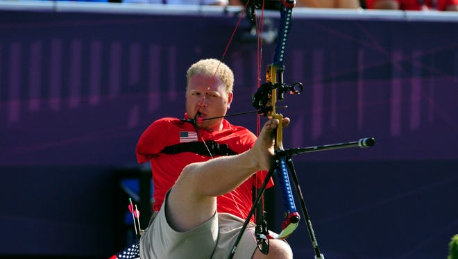 Matt Stutzman shoots in the semifinal round of the men's compound - open during the London 2012 Paralympic Games at Royal Artillery Barracks.