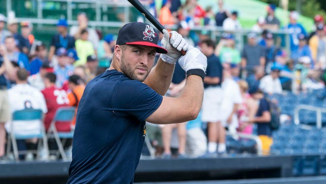 Binghamton Rumble Ponies outfielder Tim Tebow warms up for batting practice prior to a game July 11 at Trenton.