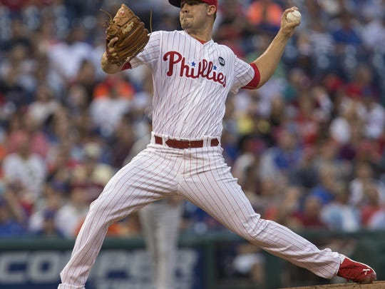 Phillies starter Adam Morgan throws a pitch in the first inning against the Mets on Monday.