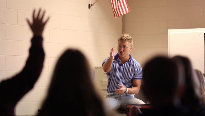 William Smith is a seventh grade social studies teacher at Southern Regional Middle School who's teaching Sept. 11 events to his students.  Manahawkin, New Jersey.